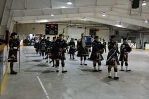 Combined 155 Air and 2310 Army Pipe and Drum Band. Photo Credit: Captain Roy Harten