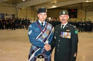 (L-R) Top Drum Major Award Cdt. Sgt. Justin Brideau, CWO Griffiths. Photo Credit: Capt. Roy Harten
